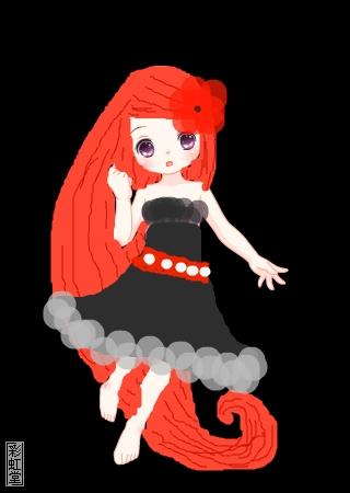 标  题: 火红色的彼岸花,淡灰色与黑色的小礼裙,再加上红色的流苏