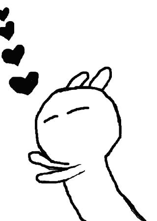 不会画涂鸦,所以画了个兔斯基,蟹蟹.