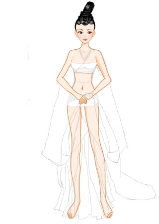 简易礼服画画的步骤
