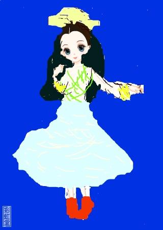 标  题: 我小学三年级 是熬夜画出的画 美丽小公主 作  者:沈雯雯