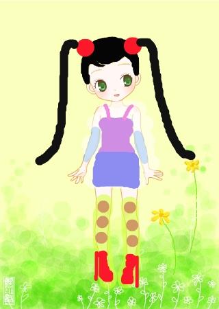 采花的小姑娘简笔画