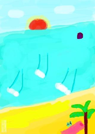 标  题: 落日,蓝天,白云,大海,海浪,礁石,沙滩,椰树,席子,枕头,拖鞋.