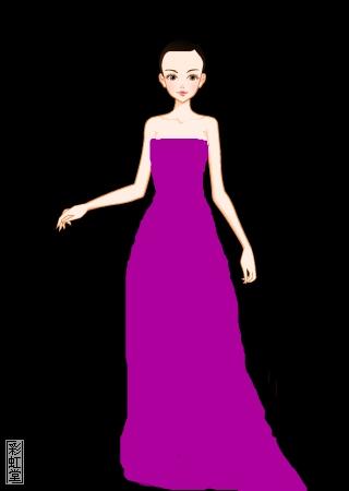 紫色的礼服简笔画