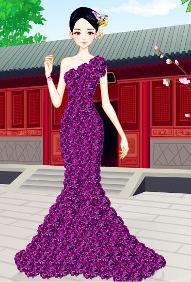 美女紫色古裝手绘