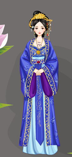 紫衣美女手绘