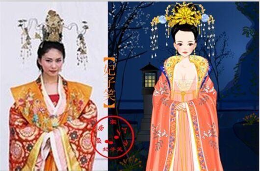 手绘古代嫔妃头饰唐朝