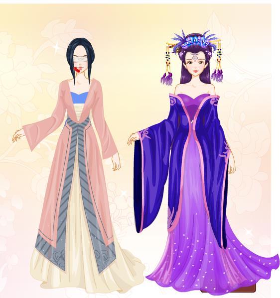 手绘古风紫衣美人