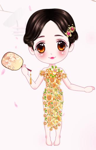 长旗袍背影手绘