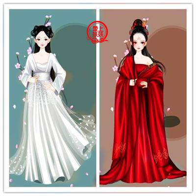 手绘古装红衣女子嫁衣