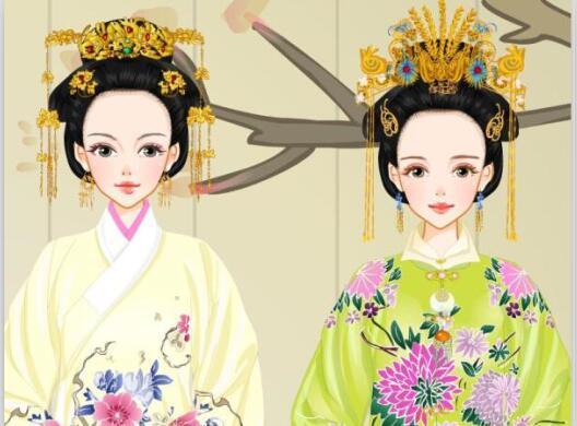 手绘古代妃子头饰图片