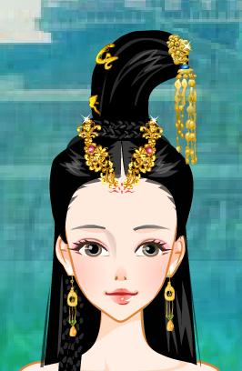 手绘古代美女梳妆图